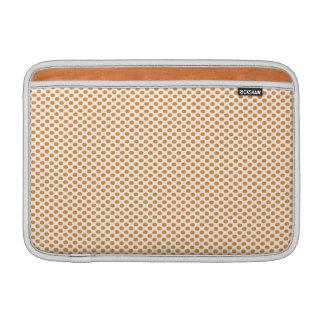 Orange Polka Dots on White MacBook Sleeves