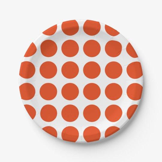 Orange Polka Dots Paper Plates 7 Inch Paper Plate