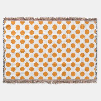 Orange Polka Dots Throw Blanket