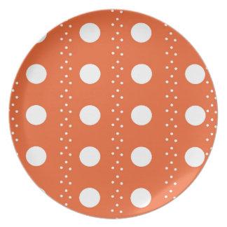 Orange Polkadot Stripes Dinner Plates