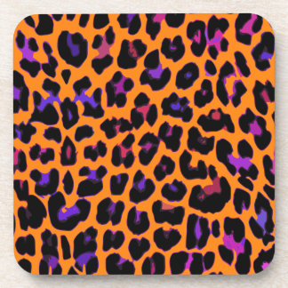 Orange Pop Leopard Beverage Coaster