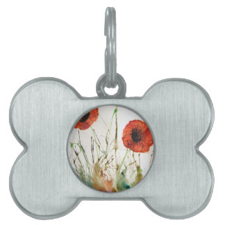 Orange Poppies in the grass Pet ID Tag