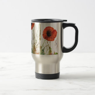 Orange Poppies in the grass Travel Mug