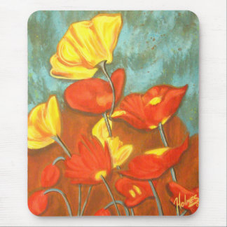 Orange Poppies Mouse Pad