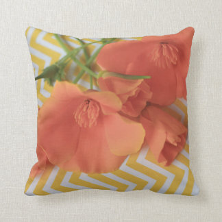 Orange poppies on a chevron background throw pillow