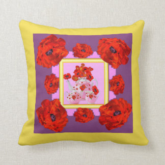 ORANGE POPPIES PATTERN & PORCELAIN TEA POTS FLORAL THROW PILLOW