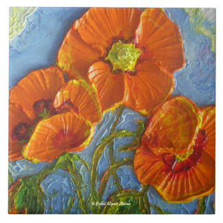Orange Poppies Tile