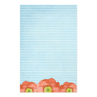 Orange Poppies Watercolor Lined Letter Writing Customized Stationery