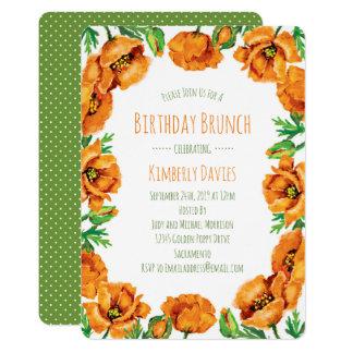 Orange Poppy Dot Birthday Brunch Card