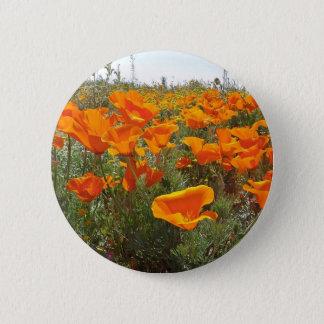Orange Poppy Field of Flowers 2 Inch Round Button