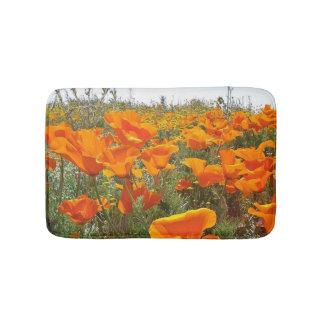 Orange Poppy Field of Flowers Bath Mat