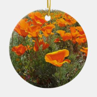 Orange Poppy Field of Flowers Ceramic Ornament