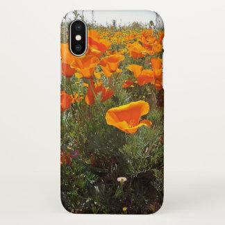 Orange Poppy Field of Flowers iPhone X Case