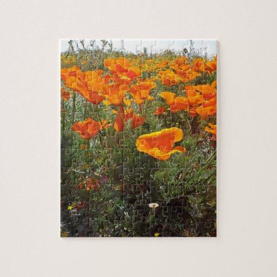 Orange Poppy Field of Flowers Jigsaw Puzzle