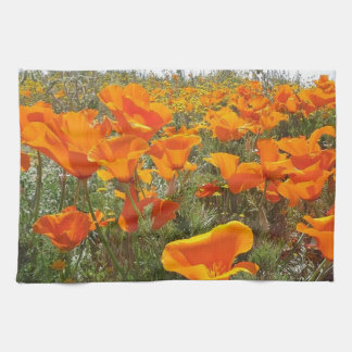 Orange Poppy Field of Flowers Kitchen Towel