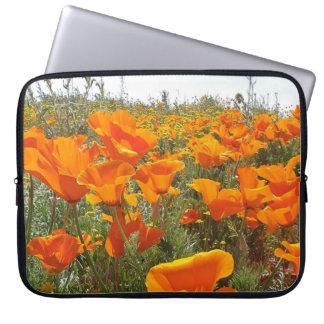Orange Poppy Field of Flowers Laptop Sleeve