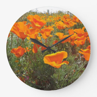 Orange Poppy Field of Flowers Large Clock