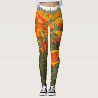 Orange Poppy Field of Flowers Leggings