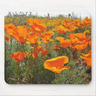 Orange Poppy Field of Flowers Mouse Pad