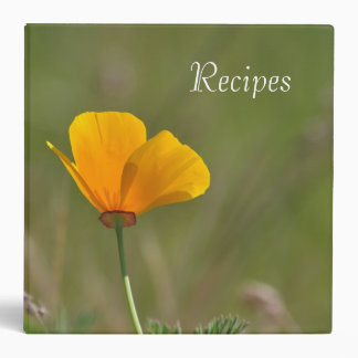 Orange Poppy Floral 3 Ring Binder