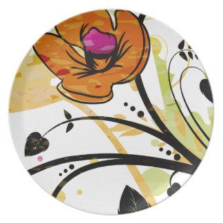 Orange Poppy flower illustration Melamine Plate