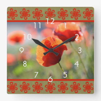 Orange Poppy Flower Wall Clock