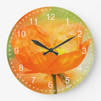 Orange Poppy Large Clock
