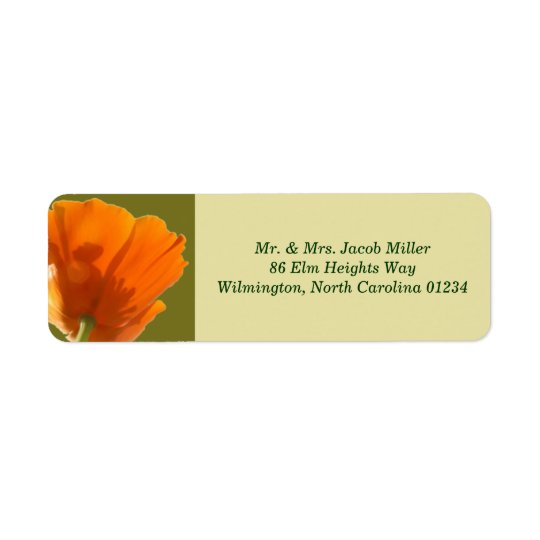 Orange Poppy Return Address Labels