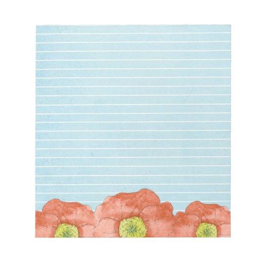 Orange Poppy Watercolor Flowers Light Blue Lined Notepad
