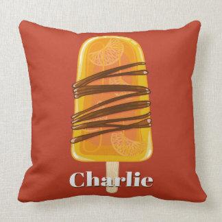 Orange Popsicle custom name & color throw pillows