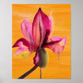 Orange pour aquarelle d art de bruit de fleur affiche