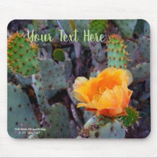 Orange prickly pear cactus blossom photo mouse pad