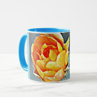 Orange Prickly Pear Flower Ringer Coffee Mug