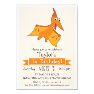 Orange Pterodactyl Dinosaur Kid's Birthday Party Card