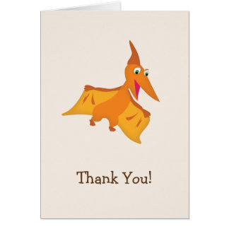 Orange Pterodactyl Dinosaur Thank You Card