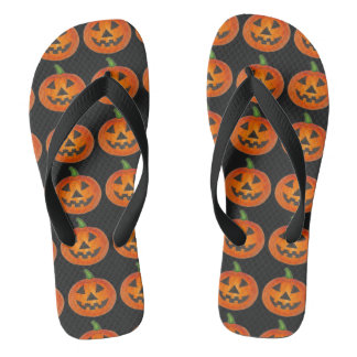 Orange Pumpkin Carving Jack o' Lantern Halloween Flip Flops