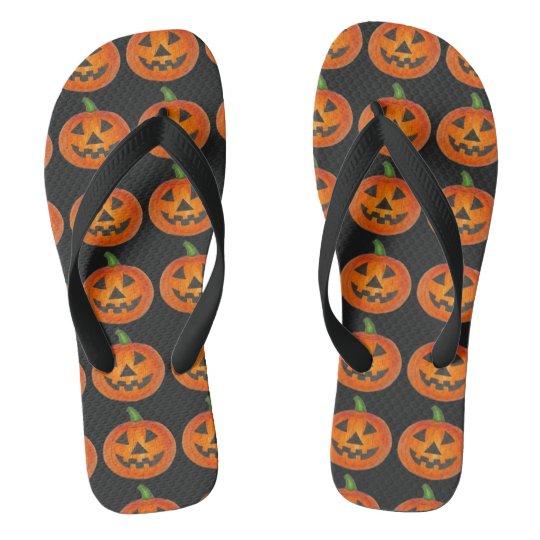 Orange Pumpkin Carving Jack o' Lantern Halloween Flip Flops