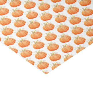 Orange pumpkin fall watercolor art tissue paper