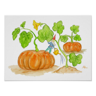 Orange Pumpkin Gnome art print