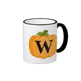 Orange Pumpkin Monogram Ringer Mug