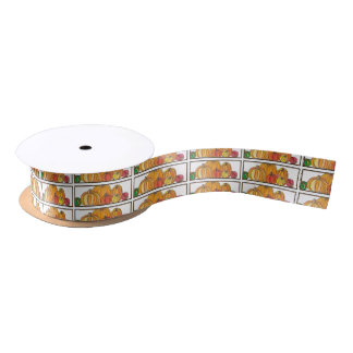 Orange Pumpkin Patch Gift Wrap Satin Ribbon