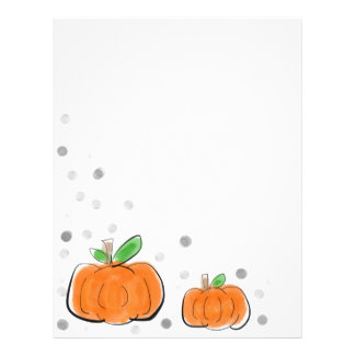 Orange Pumpkins and Polka Dots Watercolor Sketch Personalized Letterhead