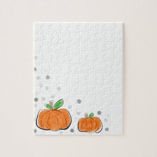 Orange Pumpkins and Polka Dots Watercolor Sketch Puzzle