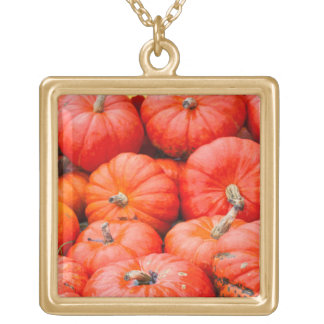 Orange pumpkins at market, Germany Gold Plated Necklace