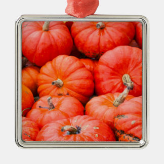 Orange pumpkins at market, Germany Silver-Colored Square Ornament