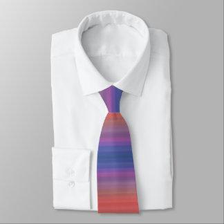 Orange Purple and Blue Horizontal Stripes Design Tie