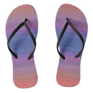 Orange Purple and Blue Stripes Abstract Art Design Flip Flops