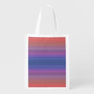 Orange Purple and Blue Stripes Design Reusable Grocery Bag