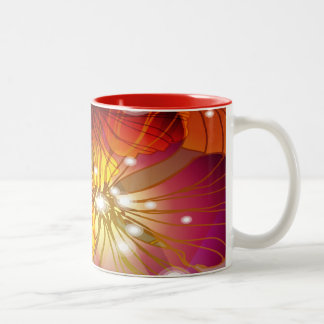 Orange, Purple and Yellow Flowers Two-Tone Coffee Mug