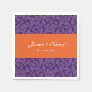 Orange Purple Damask Swirl Wedding Personalized Paper Napkins